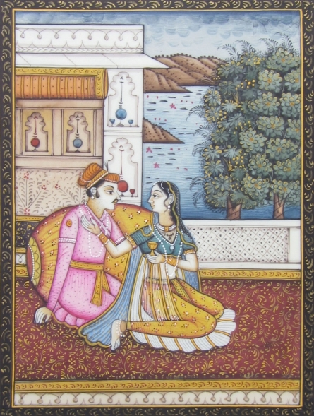 Traditional Indian art title An Amorous Evening on Plastic Sheet - Mughal Paintings
