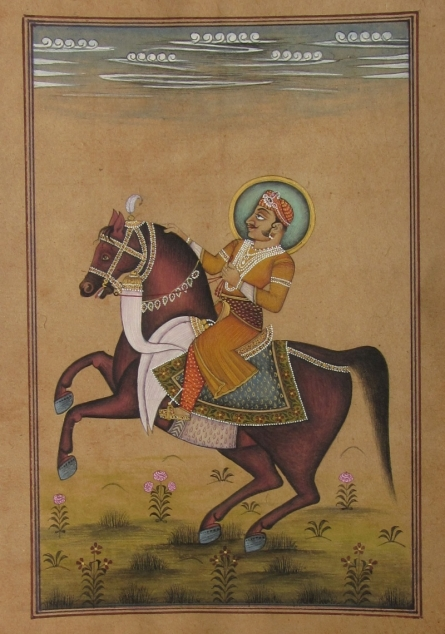 Traditional Indian art title An Equestrian Portrait Of Emperor on Paper - Mughal Paintings