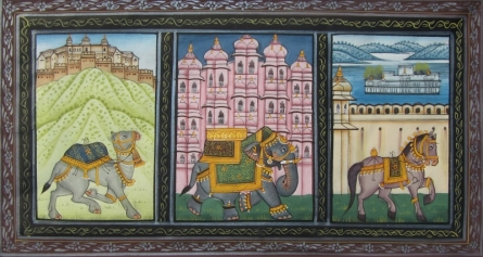 Traditional Indian art title Animals on Silk - Mughal Paintings