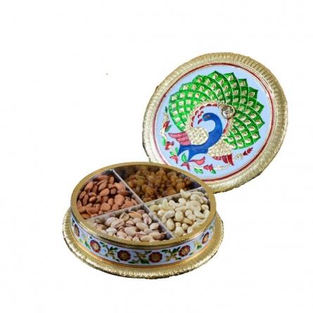 E Craft | Meenakari Peacock Dry Fruit Container Craft Craft by artist E Craft | Indian Handicraft | ArtZolo.com