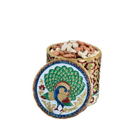 Meenakari Peacock Dry Fruit Box | Craft by artist E Craft | Metal