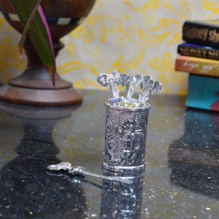 White Metal Forks with Holder | Craft by artist E Craft | Metal