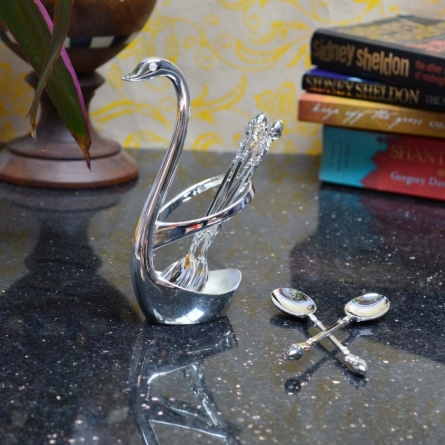 E Craft | White Metal Swan Spoon Holder Craft Craft by artist E Craft | Indian Handicraft | ArtZolo.com