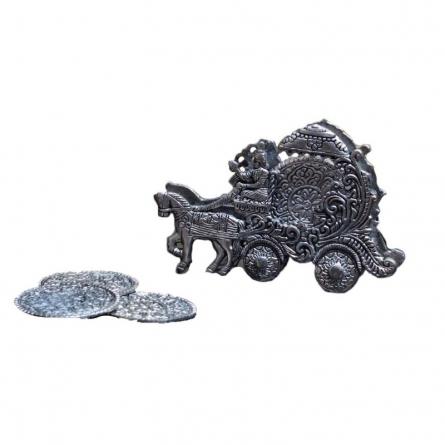 Oxidized Tea Coaster - Chariot | Craft by artist E Craft | Metal