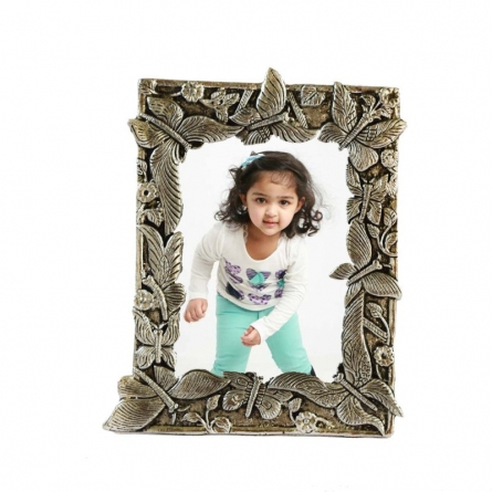 White Metal Leafy Design Photo Frame | Craft by artist E Craft | Metal