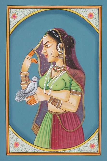 Traditional Indian art title Bani Thani With Bird on Paper - Miniature Paintings
