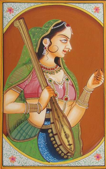 Traditional Indian art title Bani Thani With Sitar on Paper - Miniature Paintings