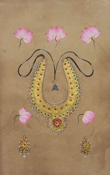 Traditional Indian art title Beautiful Necklace on Paper - Miniature Paintings