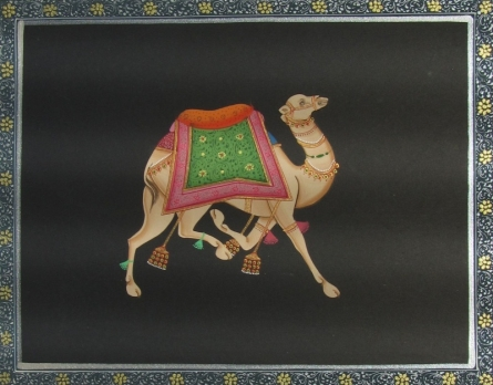 Traditional Indian art title Camel on Paper - Miniature Paintings