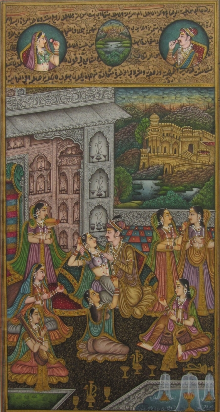 Unknown | Mughal Traditional art title Dignified Mughal Love Scene on Paper | Artist Unknown Gallery | ArtZolo.com