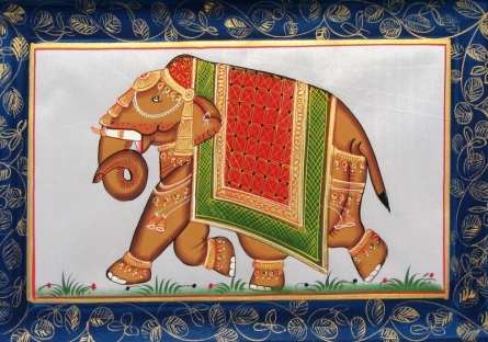 Traditional Indian art title Elephant 1 on Silk - Miniature Paintings