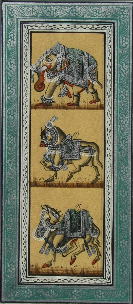 Traditional Indian art title Elephant Horse And Camel on Silk - Mughal Paintings