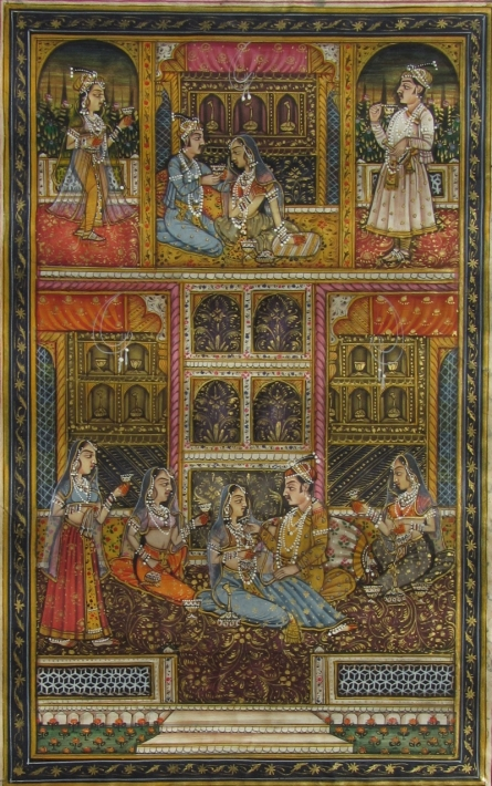 Traditional Indian art title Enjoyable Mughal Love Scene on Paper - Mughal Paintings