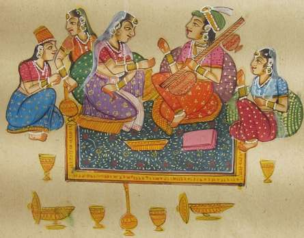 Traditional Indian art title Erotic Mughal Love Scene on Paper - Mughal Paintings