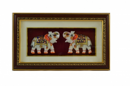 Set Of 2 Marble Elephant Wall Hanging | Craft by artist E Craft | Marble