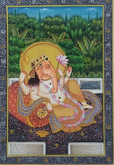 Traditional Indian art title Ganesha on Cloth - Miniature Paintings