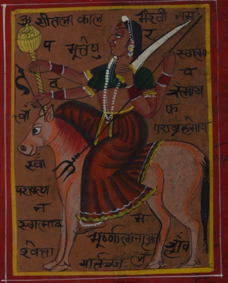 Unknown | Miniature Traditional art title Indian Goddess On Horse on Paper | Artist Unknown Gallery | ArtZolo.com