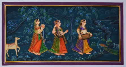 Unknown | Miniature Traditional art title Indian Women Playing Different Musical I on Silk | Artist Unknown Gallery | ArtZolo.com