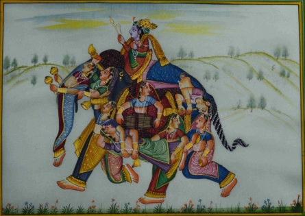 Traditional Indian art title King And His Queens Depicted As Elephant on Silk - Mughal Paintings