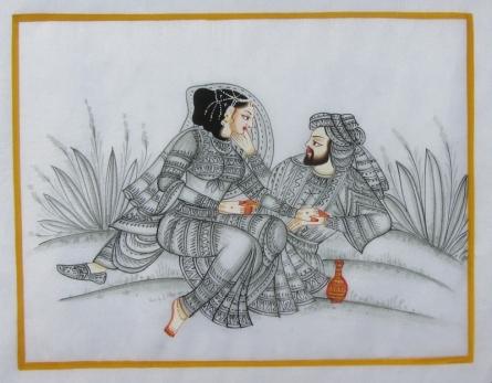 art, beauty, traditional, mughal, figurative, silk