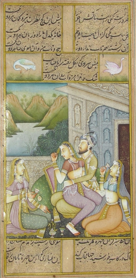 Traditional Indian art title King And Queens on Paper - Mughal Paintings