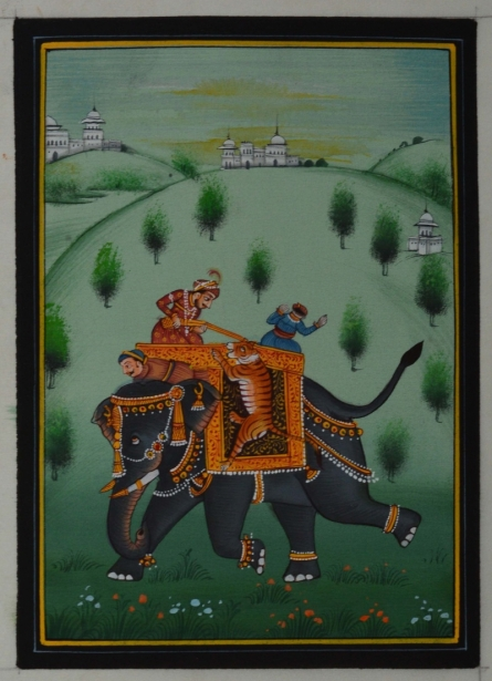 Traditional Indian art title King Hunting A Tiger With Sainik on Silk - Mughal Paintings
