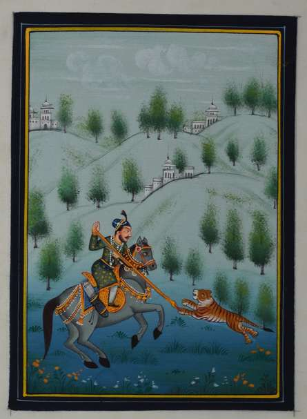 Unknown | Mughal Traditional art title King Hunting Tiger on Silk | Artist Unknown Gallery | ArtZolo.com