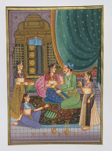 Traditional Indian art title King In A Discussion With His Queens on Silk - Mughal Paintings