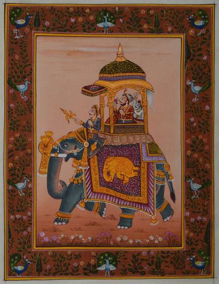 Traditional Indian art title King On Ambari on Silk - Mughal Paintings