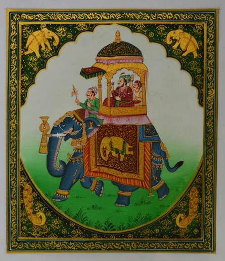 Traditional Indian art title King On Elephant on Silk - Mughal Paintings