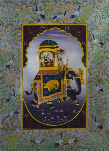 Traditional Indian art title King On Royal Ambari on Silk - Mughal Paintings