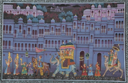 Traditional Indian art title King Procession Through Town 1 on Silk - Mughal Paintings