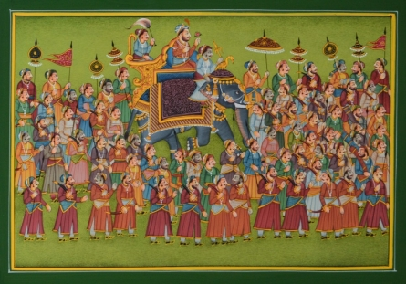 Traditional Indian art title King Riding Elephant In Town on Paper - Mughal Paintings