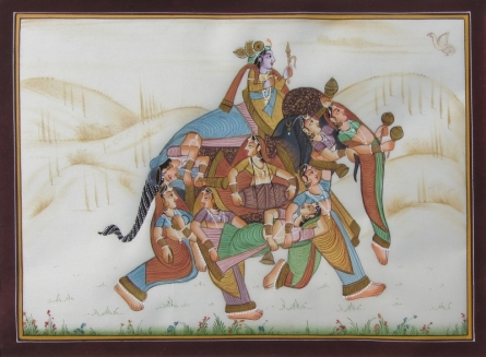 Traditional Indian art title King Surrounded By Women on Silk - Mughal Paintings