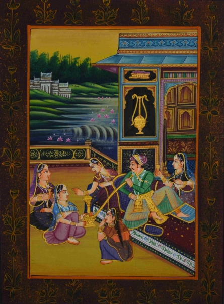 Traditional Indian art title King Surrounded With Queens on Silk - Mughal Paintings