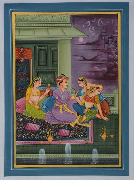 Traditional Indian art title King Surrounded With Queens In Palace on Silk - Mughal Paintings