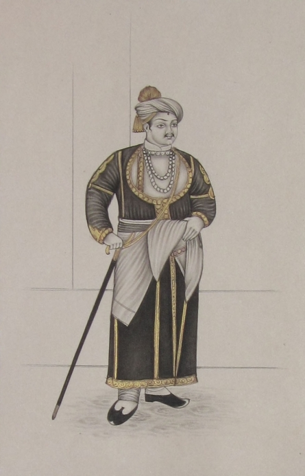 Traditional Indian art title King With His Stick on Paper - Mughal Paintings