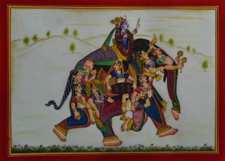 Traditional Indian art title King With His Women 3 on Silk - Mughal Paintings