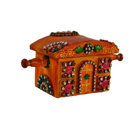 E Craft | Kundan studded Royal Jewellery Box Craft Craft by artist E Craft | Indian Handicraft | ArtZolo.com