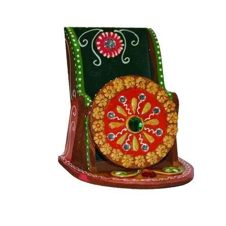 E Craft | Papier Mache Kundan Mobile Holder Craft Craft by artist E Craft | Indian Handicraft | ArtZolo.com