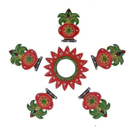 E Craft | Decorative Floor Rangoli Kalash Design Craft Craft by artist E Craft | Indian Handicraft | ArtZolo.com
