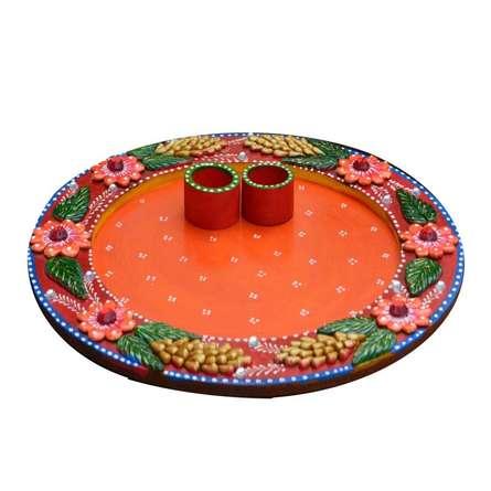 E Craft | Papier Mache Pink Floral Pooja Thali Craft Craft by artist E Craft | Indian Handicraft | ArtZolo.com