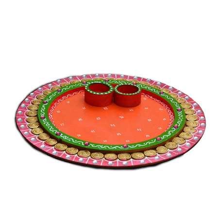 E Craft | Papier Mache Pink and Orange Pooja Thali Craft Craft by artist E Craft | Indian Handicraft | ArtZolo.com