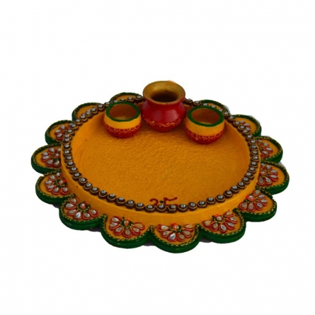 E Craft | Papier Mache Yellow Pooja Thali Craft Craft by artist E Craft | Indian Handicraft | ArtZolo.com