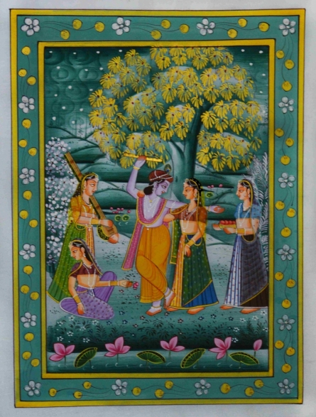 Traditional Indian art title Krishna Playing Flute With Radha And Gop on Silk - Miniature Paintings