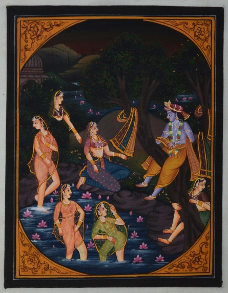 Traditional Indian art title Krishna Playing With Gopis In Pond on Silk - Miniature Paintings