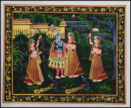 Traditional Indian art title Krishna Radha In Conversation With Sevik on Silk - Miniature Paintings