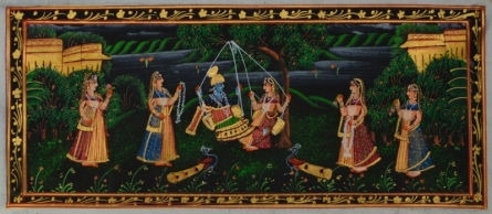 Traditional Indian art title Krishna Radha Magical Moments on Silk - Miniature Paintings