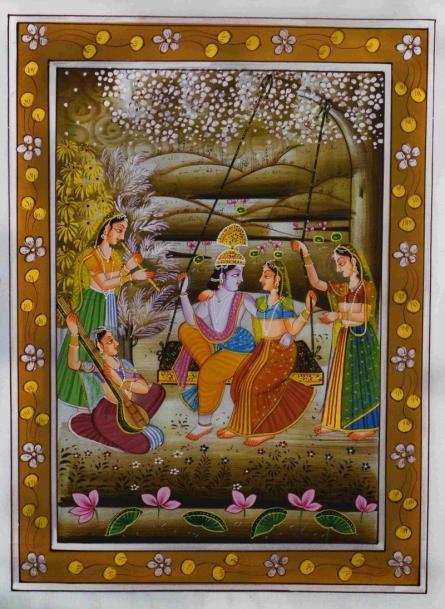 Traditional Indian art title Krishna Radha Swinging on Silk - Miniature Paintings