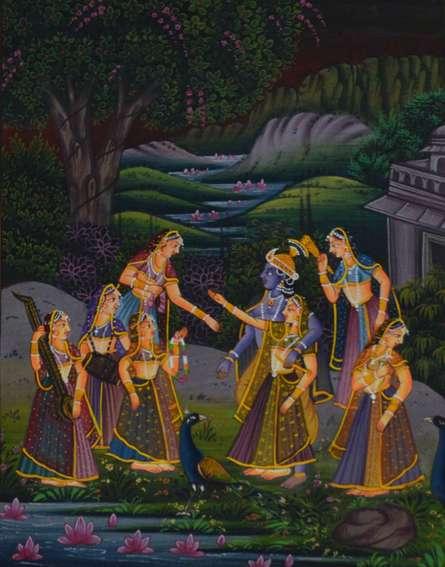 Traditional Indian art title Krishna Radha Treated By Sevikas on Silk - Miniature Paintings